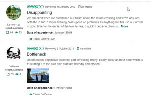 Bruny Island ferry reviews