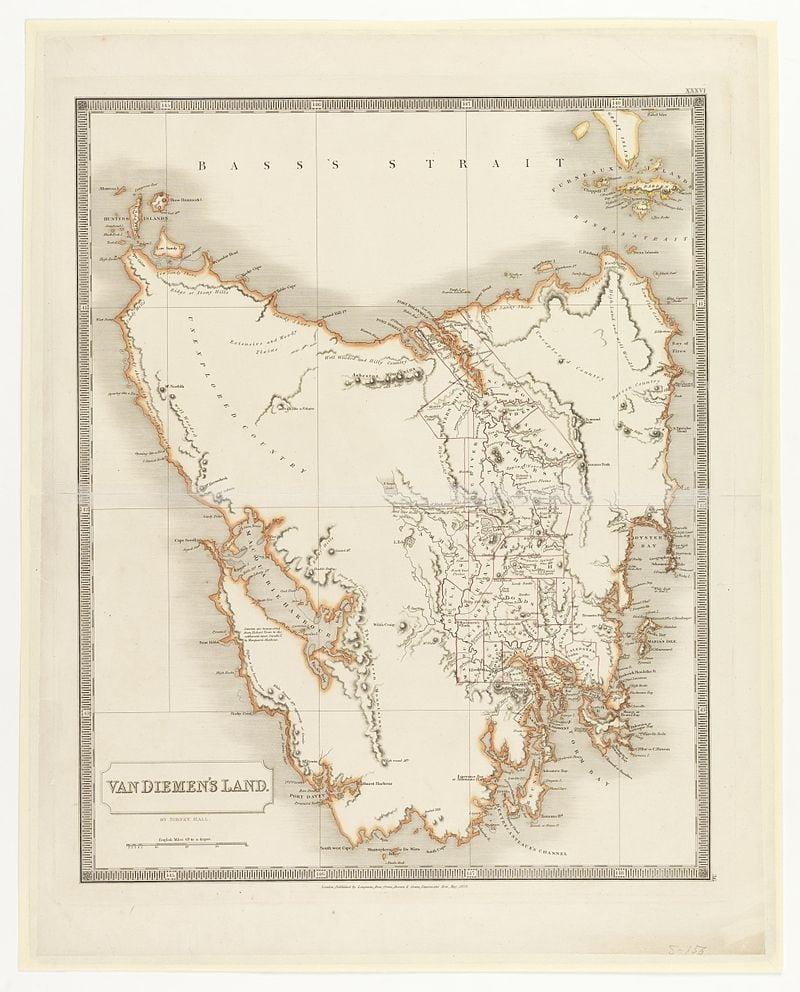 An 1828 map of Van Diemen's Land