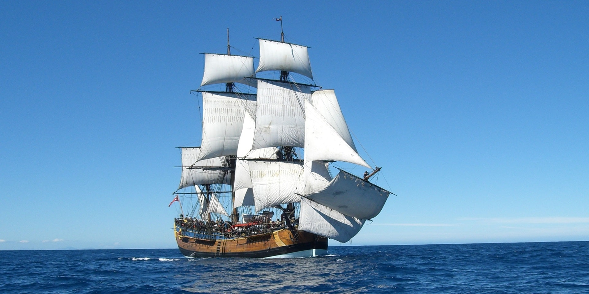 The replica of the HMB Endeavour, the research vessel that James Cook commanded on his first voyage of discovery (1768 to 1771)